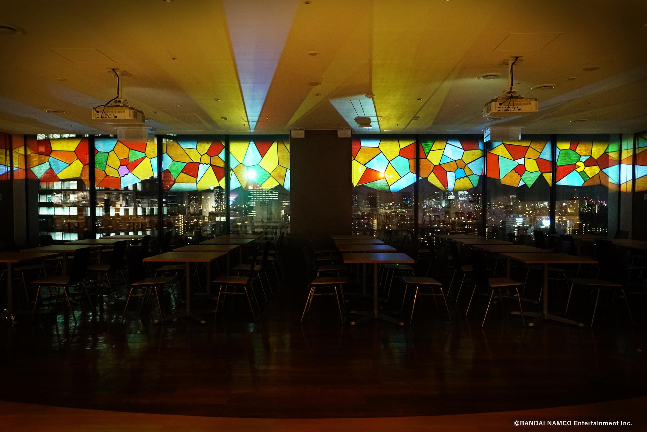 バンダイナムコ未来研究所の飲食スペースをネイキッドが夜景演出