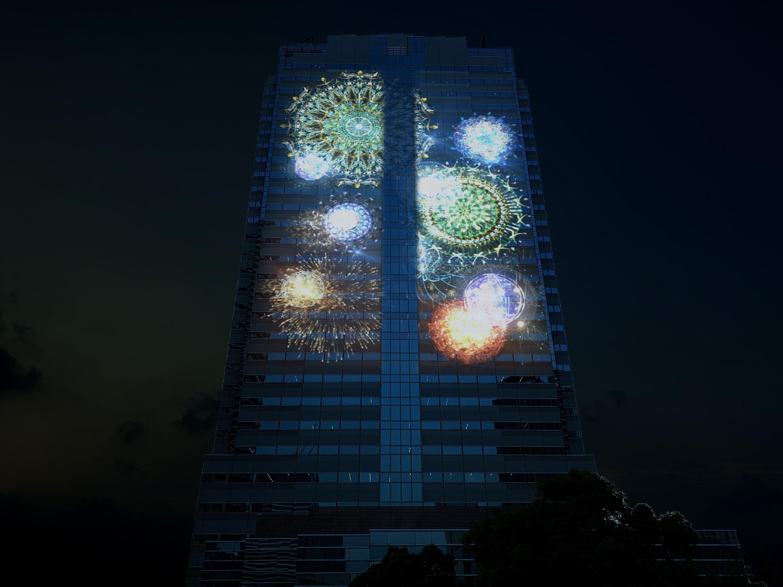 豊洲・日本ユニシスビル「大型マッピング広告実証実験」