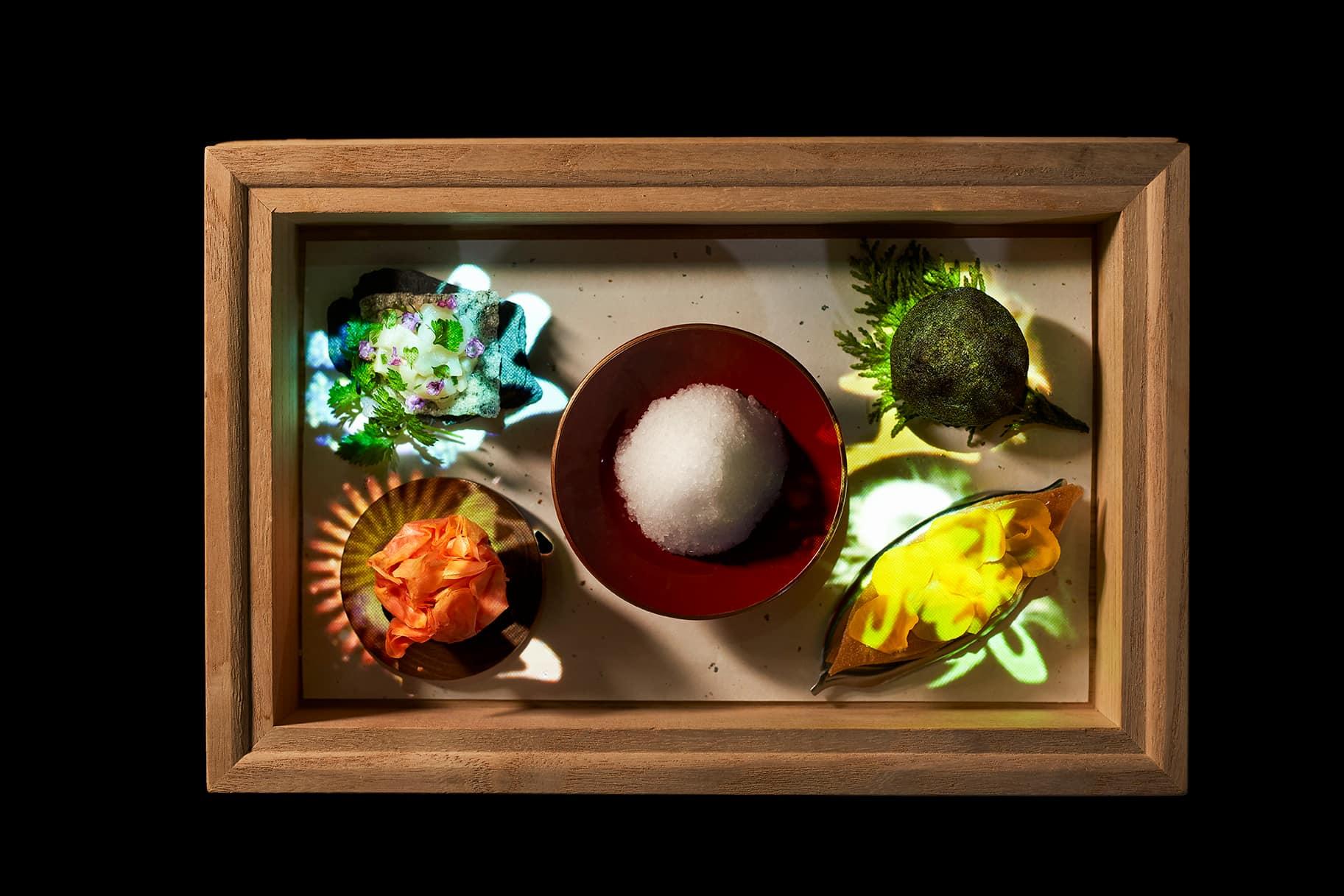 土:ひよこ豆のファラフェル/火:ラタトゥイユ/水:雲丹とリコッタチーズのタルト/風:スペインししとうのファルシー